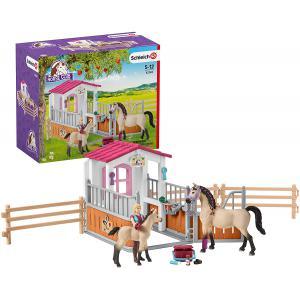 Schleich - 42369 - Box avec chevaux arabes et soigneuse de chevaux (334690)