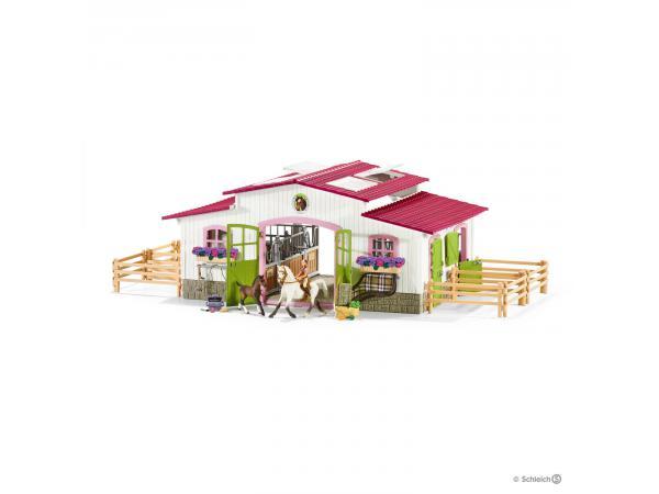 centre questre avec cavali re et chevaux 2 chevaux. Black Bedroom Furniture Sets. Home Design Ideas