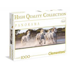 Clementoni - 39371 - Puzzle 1000 pièces panoramique : Chevaux blancs au galop (337530)