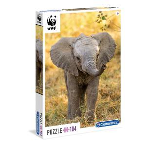Clementoni - 27999 - Puzzles 104 Pièces Glitter/Jewels/Brillant - WWF 104p éléphant (Ax2) (337604)