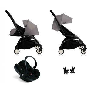 Babyzen - BU059 - Poussette Yoyo+ complète cadre  noir habillages 0+ et 6+ gris et siège auto iZi Go Modular noir (339466)