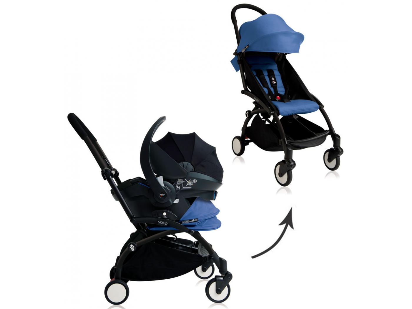 recognized brands hot sale classic styles BU057 - Nouvelle poussette Babyzen Yoyo plus complète cadre noir habillages  0+ et 6+ bleu et siège auto Babyzen Besafe noir