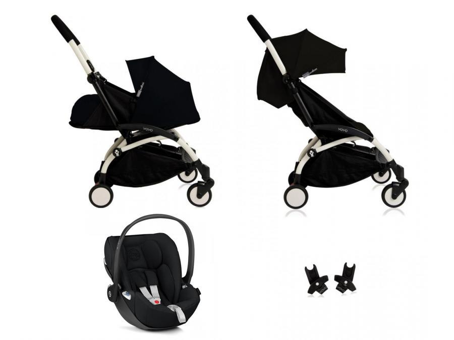 Nouvelle poussette babyzen yoyo plus compl te cadre blanc habillages 0 et 6 noir et si ge auto for Cadre noir et blanc