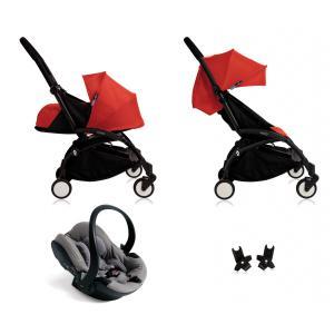 Babyzen - BU044 - Poussette Yoyo+ complète cadre  noir habillages 0+ et 6+ rouge et siège auto iZi Go Modular gris (339496)