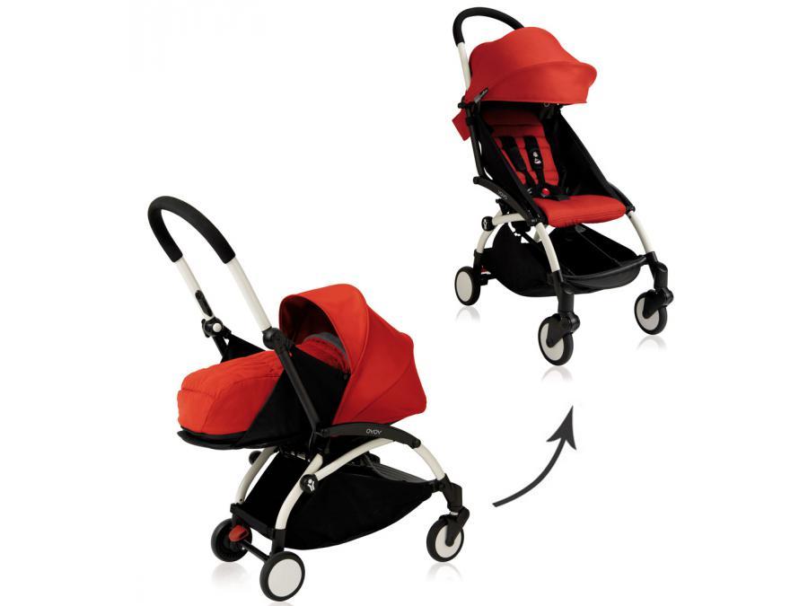 nouvelle poussette babyzen yoyo plus compl te cadre blanc habillages 0 et 6 rouge. Black Bedroom Furniture Sets. Home Design Ideas