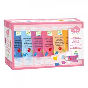 Djeco - DJ09000 - Les couleurs - Pour les petits - 6 tubes de peinture à doigts Sweet (340652)