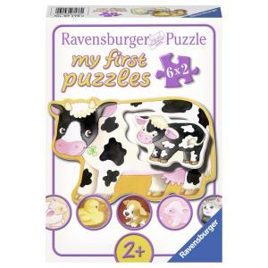 Ravensburger - 07176 - Puzzle encastrables 6x2 pièces - Les animaux et leurs bébés (341264)