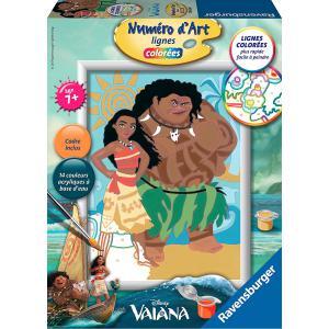 Ravensburger - 28606 - Numéro d'art Vaiana la princesse du bout du monde, Disney- moyen format lignes colorées (341550)