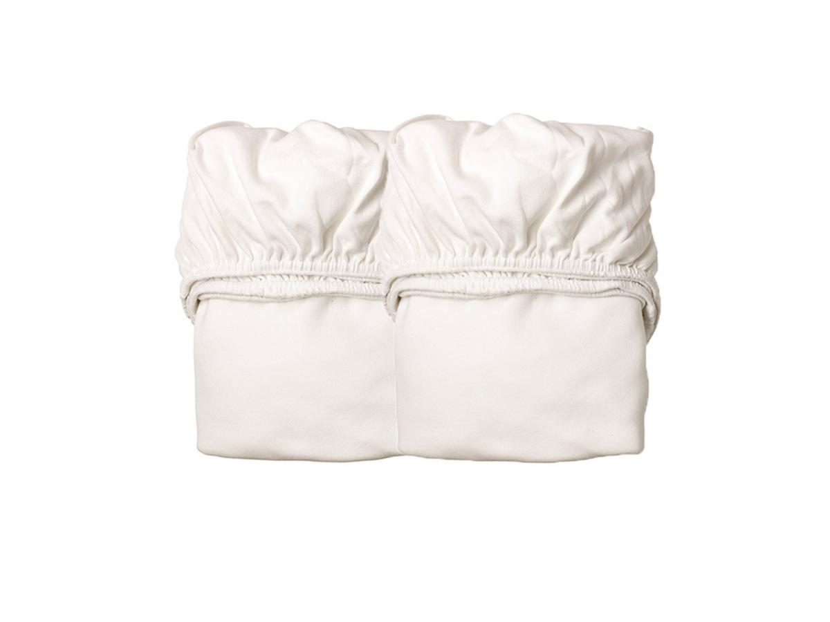 Leander lot de 2 draps housse blanc pour berceau for Drap housse pour berceau