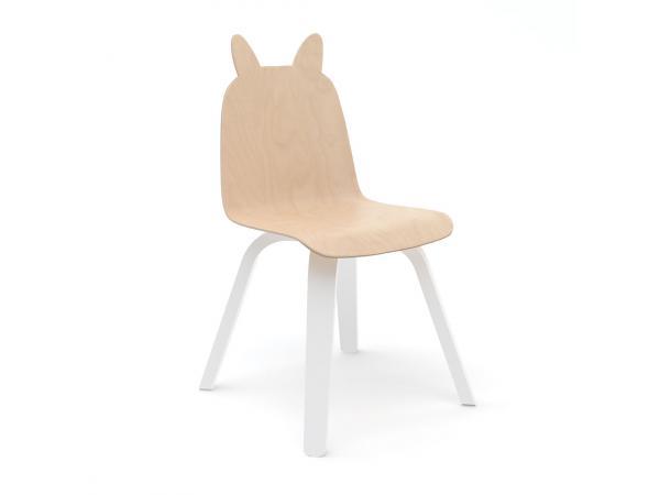 Lot de 2 chaises enfant play dossier lapin en bouleau naturel