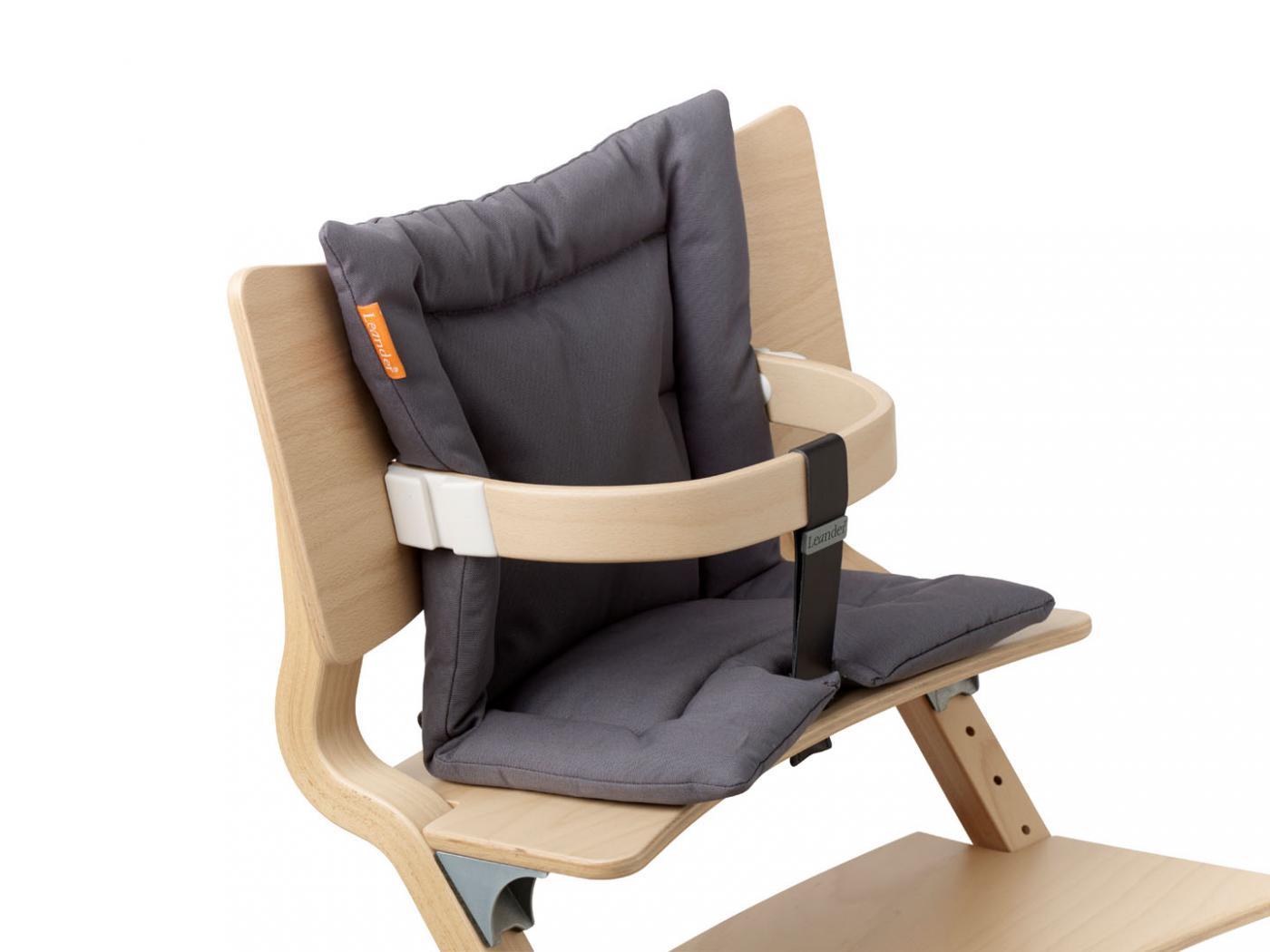 Leander coussin gris anthracite pour chaise haute - Coussin pour chaise haute en bois ...