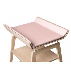 Leander - BU17 - Table à langer Linea  en hêtre naturel avec matelas et housse  Rose pâle (342262)