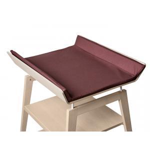 Leander - BU19 - Table à langer Linea  en hêtre naturel avec matelas et housse  Prune (342266)