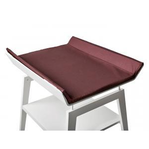 Leander - BU24 - Table à langer Linea  en hêtre blanc avec matelas et housse  Prune (342276)