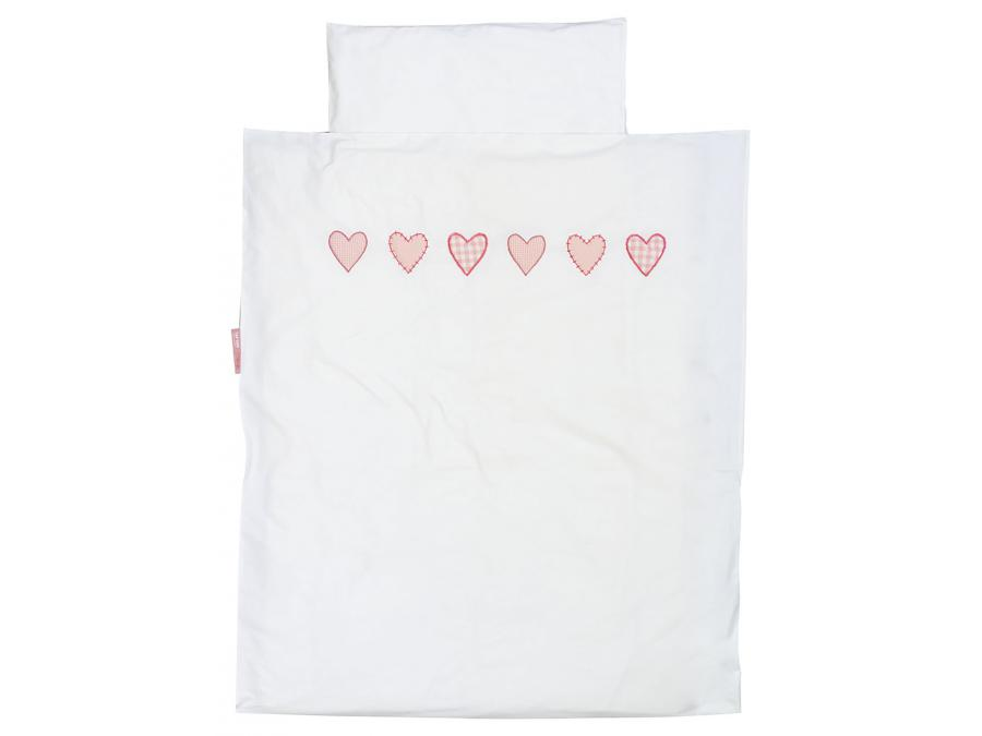 taftan housse de couette hearts checks pink 120 x 150