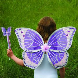 Travis - PWWST - Ailes + Baguette violet et rose, déguisement enfant Travis (347520)
