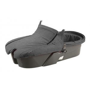 Stokke - 175511 - Nacelle pour poussette Xplory V5, base grise, tablier Noir Mélange (348780)