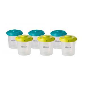 Beaba - 912482 - Lot de 6 portions clip 2ème âge 200ml (coloris assortis blueneon) (348930)
