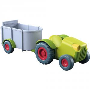 Haba - 303131 - Figurine Little Friends – Tracteur avec remorque (350218)