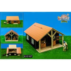 Kids Globe Farmer - 610167 - Kids Globe paardenstal met 2 boxen en berging 1:24 51x40,5x2 (350226)