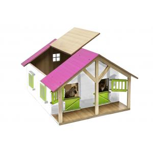 Kids Globe Farmer - 610168 - Kids Globe paardenstal roze hout met 2 boxen en berging (350228)
