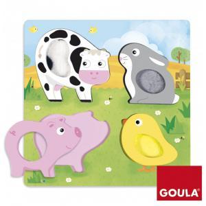 Goula - 53055 - Puzzle animaux ferme tissu(22x22cm) (351474)