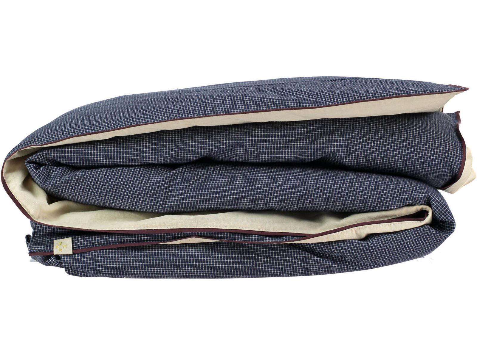 camomile london housse de couette imprim e petits carreaux navy ivoire 140x200 cm. Black Bedroom Furniture Sets. Home Design Ideas