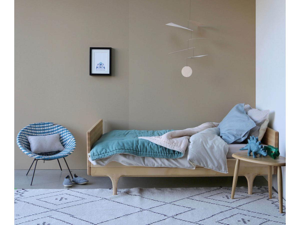 camomile london housse de couette imprim e double petits carreaux ivoire gris 120x150 cm. Black Bedroom Furniture Sets. Home Design Ideas