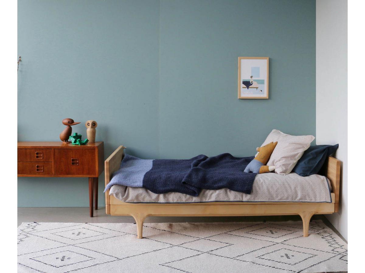 camomile london taie d 39 oreiller imprim e keiko gris clair bleu 60x40 cm. Black Bedroom Furniture Sets. Home Design Ideas