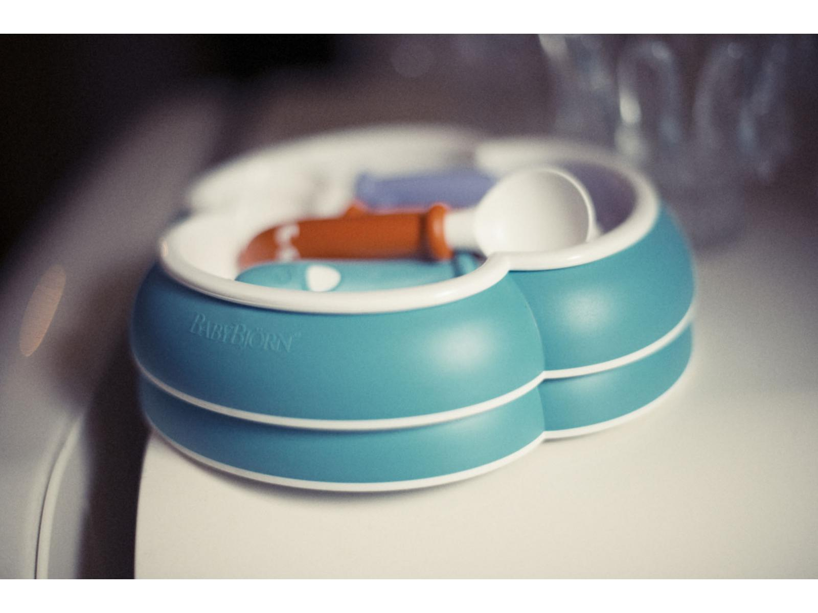 babybjorn assiette cuill re et fourchette pour b b babybj rn lot de 2 orange turquoise. Black Bedroom Furniture Sets. Home Design Ideas