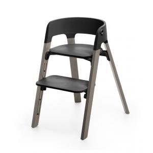 Stokke - BU10 - Chaise STEPS assise noire pieds en bois de hetre Gris tempete (354776)
