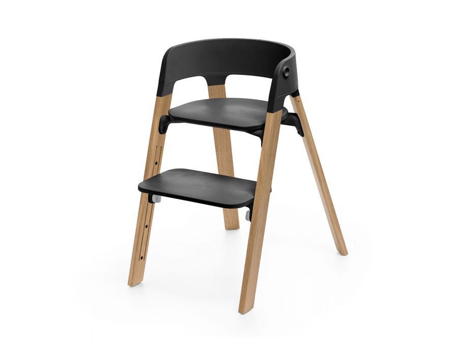 chaise steps assise noire pieds en bois de chene naturel. Black Bedroom Furniture Sets. Home Design Ideas