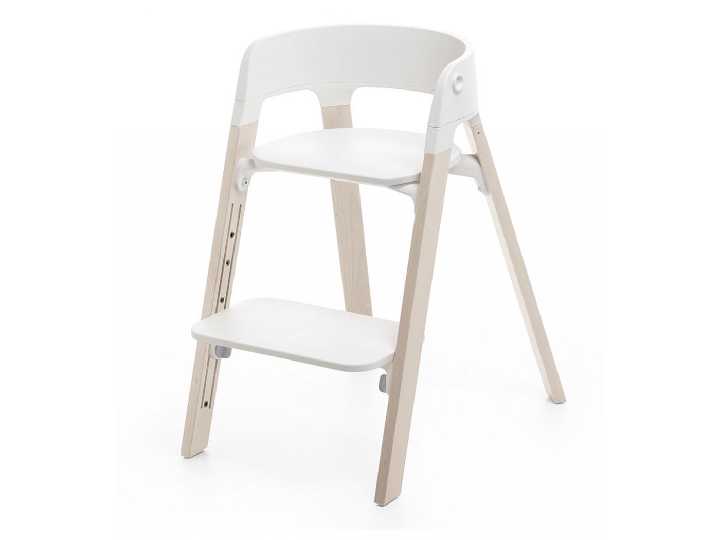 BU05 Chaise STEPS assise blanche pieds en bois de hetre Blanchi