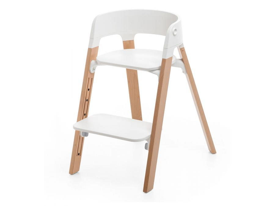 chaise steps assise blanche pieds en bois de hetre naturel. Black Bedroom Furniture Sets. Home Design Ideas