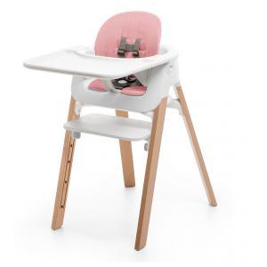 Stokke - BU03 - Chaise STEPS assise blanche pieds en bois de hetre Naturel (354790)