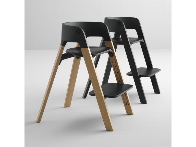 chaise steps assise blanche pieds en bois de chene noir. Black Bedroom Furniture Sets. Home Design Ideas