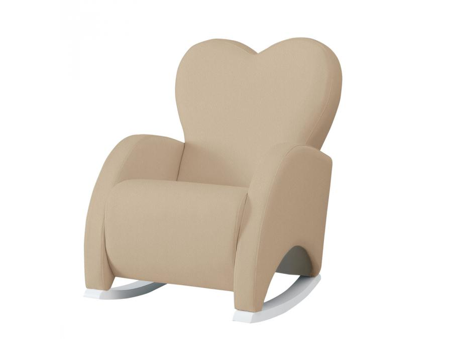 micuna fauteuil bascule en similicuir couleur blanc similicuir beige. Black Bedroom Furniture Sets. Home Design Ideas