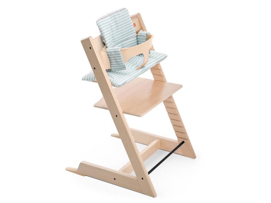 Stokke coussin pour chaise tripp trapp rayures aqua enduit for Patron coussin chaise tripp trapp