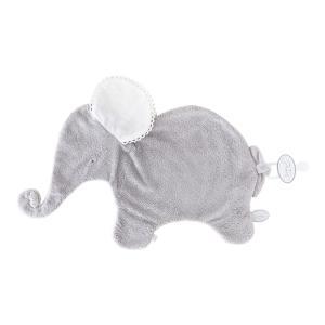 Dimpel - 884013 - Oscar Doudou éléphant attache tétine  - 42 x 25 cm - GRIS-blanc (356908)