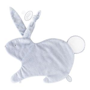 Dimpel - 884429 - Emma Doudou lapin attache tétine - 32 x 25 cm - BLEU-blanc (356926)