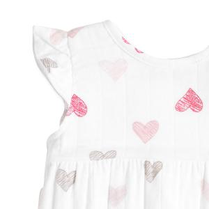 Aden and Anais - AA1027-SKHG-12G - Barboteuse-sketch hearts flutter sleeve romper (359092)
