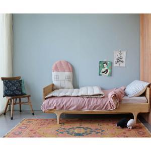 Camomile London - C18MCC - Coussin maison imprimé petits carreaux pêche / gris clair - 42,5 x 56 cm (364200)