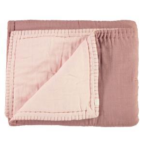 Camomile London - C23-2BPP - Couverture Single/ Double ouatinée bicolore brodée main rose / rose clair- 140 x 200 cm (364262)