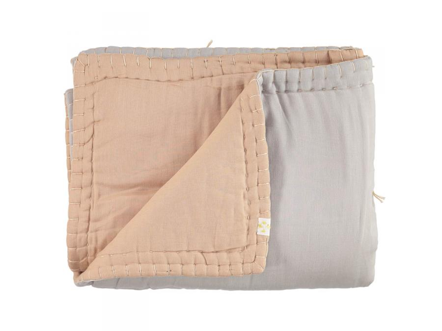 camomile london couverture single double ouatin e bicolore brod e main p che gris clair. Black Bedroom Furniture Sets. Home Design Ideas