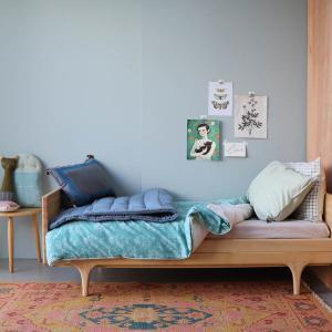 Camomile London - C12-2MCB - Couverture matelassée brodée main imprimée petits carreaux bleus - 140 x 200 cm (364394)