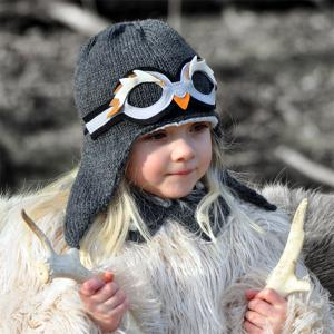 Lullaby Road - Penguin-6-12-mois - Bonnet fille gris foncé avec lunette amovible Pingouin - 6/12 mois (364478)