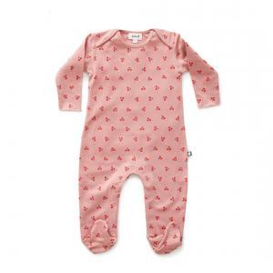 Oeuf Baby Clothes - L112375103 - Combinaison avec pieds cerises en coton biologique rose 0/3M (364692)
