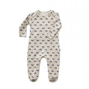 Oeuf Baby Clothes - L112322406 - Combinaison avec pieds chats et arcs-en-ciel en coton biologique grise 3/6M (364696)