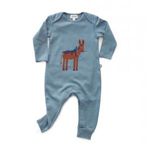 Oeuf Baby Clothes - L111022609 - Combinaison âne en coton biologique bleue 6/9M (364712)