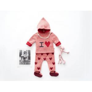 Oeuf Baby Clothes - K12417151618 - Pull à Capuche rose I love en Alpaga 18M (364734)